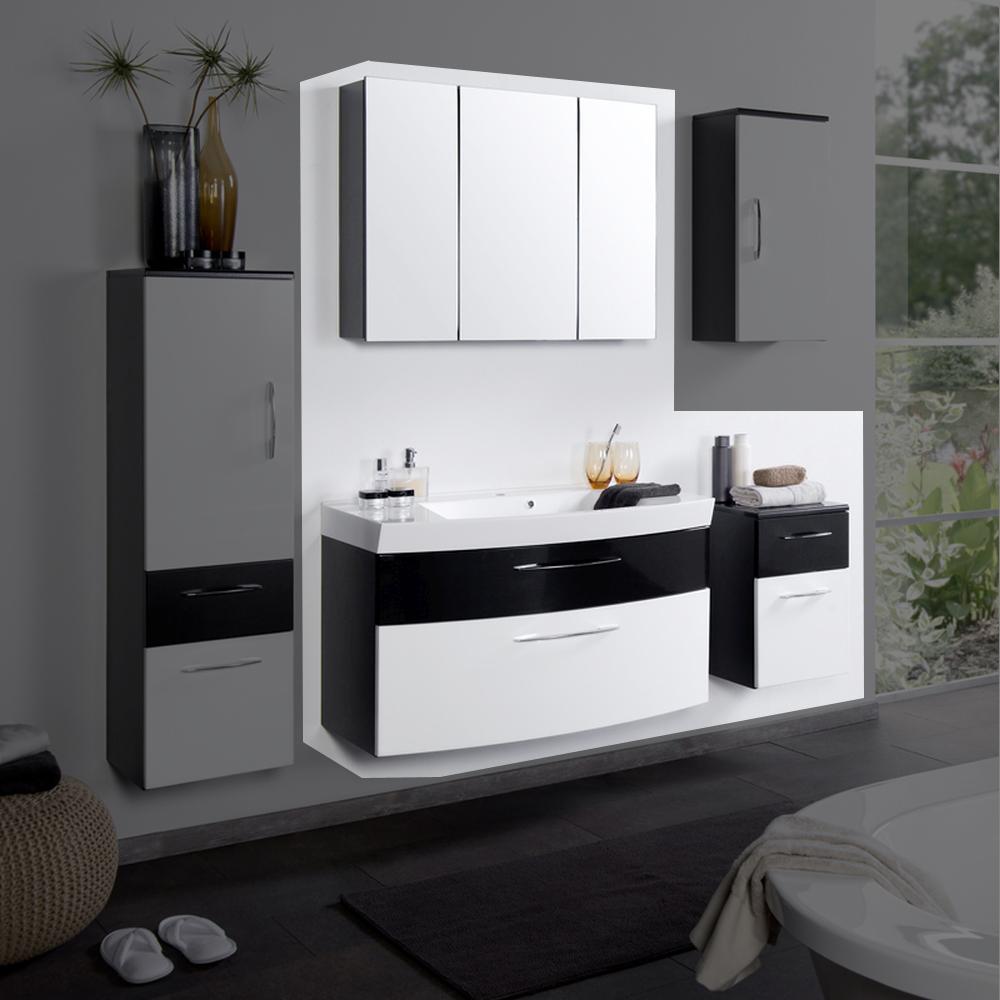 badezimmer set badm bel badkombination 3 teilig anthrazit hochglanz wei iii. Black Bedroom Furniture Sets. Home Design Ideas
