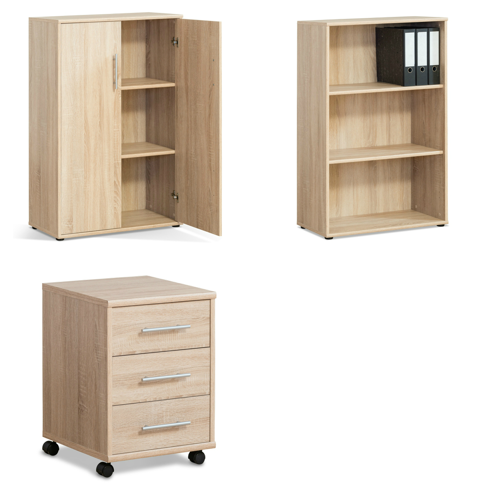 b ro set mini 7 3 teilig eiche b rom bel rollcontainer. Black Bedroom Furniture Sets. Home Design Ideas