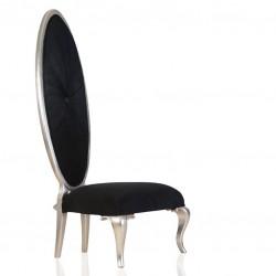 Designstuhl Show-Chair Pomp Mahagoni teilmassiv silber Stoff schwarz