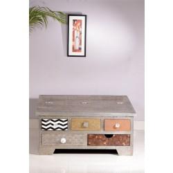 Couchtischtruhe Metal & Bone bunt 90 x 90 x 45 cm