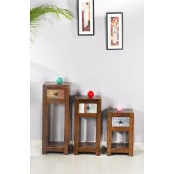 Blumenhocker Wood & Textile braun 30 x 30 x 80 cm