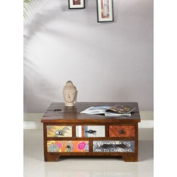 Couchtischtruhe Wood & Textile braun 90 x 90 x 45 cm