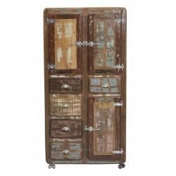 Massivholzschrank Fridge Echt Altholz bunt lackiert 190 x 90 cm