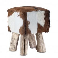 Eckiger Sitzhocker Romanteaka 03 recycled Teak natur Bezug echtes Ziegenfell