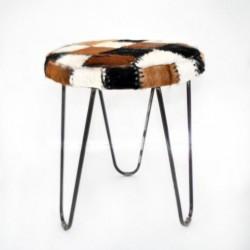 Runder Sitzhocker Romanteaka Gestell Metall Bezug echtes Ziegenfell