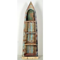 Bootsregal Riverboat aus Recyclingholz bunt lackiert 4 Fächer 190 cm
