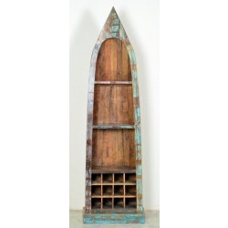 Flaschen-Bootsregal Riverboat aus Recyclingholz bunt lackiert Höhe 190 cm