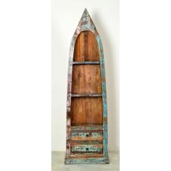 Bootsregal Riverboat aus Recyclingholz bunt lackiert Höhe 190 cm