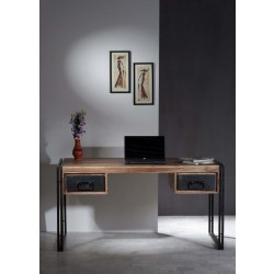 Schreibtisch Panama Sheesham massiv natur mit schwarzem Altmetall 150 x 80 cm
