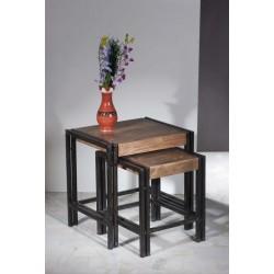 2-Satz-Tisch Panama Sheesham massiv natur mit schwarzem Altmetall