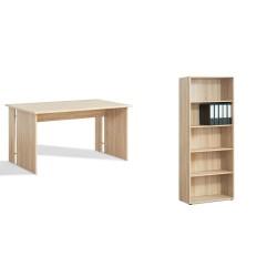 Schreibtisch 2 mit großem Regal Eiche Sonoma