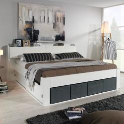 Doppelbett Reinheim 180 x 200 cm inkl. Schiebetüren und 4 Stoffkisten grau