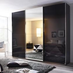 Kleiderschrank Kulmbach C grau-metallic / basalt / Spiegel verschiedene Größen