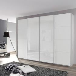 Kleiderschrank Syncrono A alpinweiß / Glas weiß verschiedene Größen