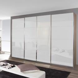 Kleiderschrank Syncrono C Eiche Sanremo / Glas weiß verschiedene Größen